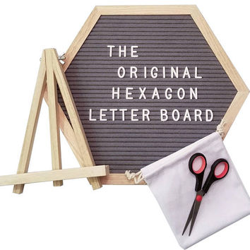 "The Original Hexagon™ Letter Board Set - 12"" Inch: Felt Letter Board, 360 Characters, Scissors, Canvas Bag, Wall Hook, Easel Stand Included!"