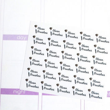 Mini Make Up Clean Brushes Reminder Planner Stickers- 30 count