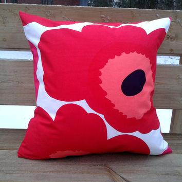 Marimekko Pillow cover, pillow case, pillow sham, throw pillow cover, cushion cover, envelope pillow, Scandinavian pillow, Red Unikko