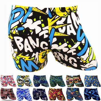 Men Male Elastic Printed Pattern Swim Pool Sport Swimming Bathing Suit Swimwear Boxer Shorts Beach Trunks Briefs Swimsuit Wear