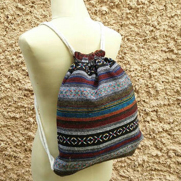 Drawstring backpack Boho Tribal Festival bag Folk Aztec Ikat Woven fabric Hippie Style Rucksack Gypsy Tote Bohemian Men Hipster Native Black