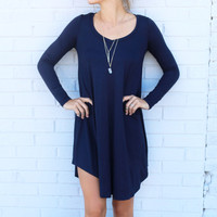 Follow Your Heart Navy V-Neck Long Sleeve Dress