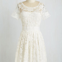 Vintage Inspired Mid-length Short Sleeves A-line