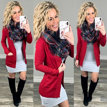Been Here Waiting Cardigan - Red