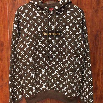 supreme x lv louis vuitton hooded fashion top sweater pullover hoodie-3