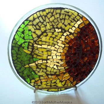 Stained Glass Mosaic Plate: Mosaic Trivet, Sunflower, Yellow, Amber, Green, Spring Decor