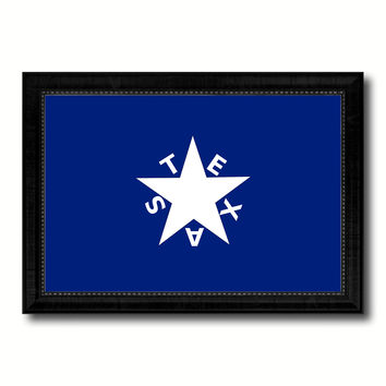 Texas History Lorenzo De Zavala Military Flag Canvas Print Black Picture Frame Gifts Home Decor Wall Art