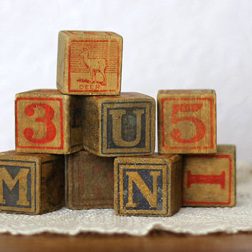 Vintage Wooden Baby Blocks Alphabet & by TimelessFindsVintage