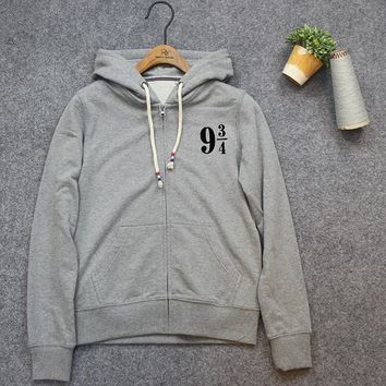 Digital printing Harry Potter printing Cotton Hoody Hoodies Fashionable Pullover New Style long sleeve women Zipper hoodies