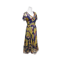 sheer floral dress / silk summer dress / navy blue / yellow / 90s dress / size S M small medium