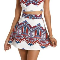 Ivory Combo Tribal Chevron Skater Skirt by Charlotte Russe