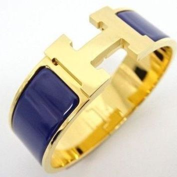MNT Auth HERMES Accessory Bracelet Clic Clac M Gold Plated × Navy 13142003300 AK