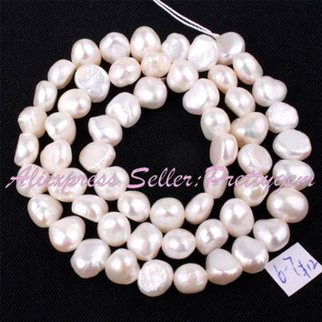 Free Shipping 5-7mm Natural Freeform White Freshwater Pearl Gem Stone For DIY Necklace Bracelat Jewelry Making Spacer Beads 14""