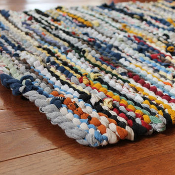 Country T Shirt Rag Rug Utility Yellow Blue Cream Gray Brown Upcycled Cottage Chic Farmhouse Rectangle 21 in x 31 in --US Shipping Included