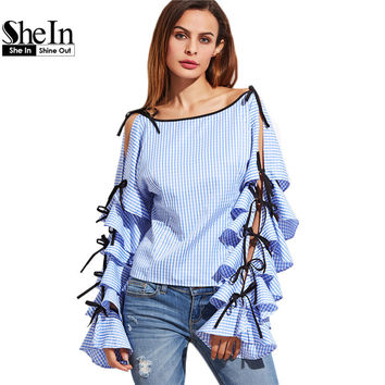 SheIn Spring Women Clothing Women Blouse New Fashion Boat Neck Blue Striped Bow Tie Split Ruffle Long Sleeve Blouse