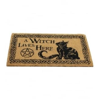 Nemesis Now A Witch Lives Here Doormat | Attitude Clothing