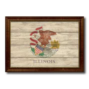 Illinois State Flag Texture Canvas Print with Brown Picture Frame Gifts Home Decor Wall Art Collectible Decoration