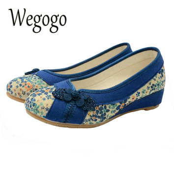 Wegogo Vintage Embroidered Women Flat Shoes Platform Canvas Walking Soft Shoes Woman Dance Ballerinas Casual Flats Size 34-40