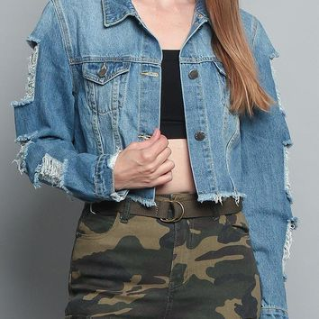 Cropped Distressed Denim Jacket RJK747 - R7F