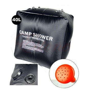 ICIKUH3 Outdoor Hiking Folding Solar Camp Shower Water Bathing Bag 40L 10 Gallons Black