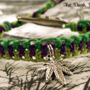 Purple Green Hemp Bracelet, Pot Leaf Bracelet, Cannabis Leaf Bracelet, Hemp Leaf Jewelry, Macrame Hemp Roach Clip, Roach Clip Hemp Jewelry