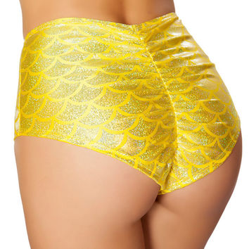 Yellow High Waist Scrunch Back Mermaid Shorts
