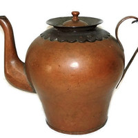 Arts and Crafts Copper Teapot Kettle Water Jug RARE Heavy European Old