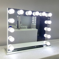 Frameless XL Hollywood Forever Lighted Vanity Mirror w/ LED Bulbs & Dual outlets