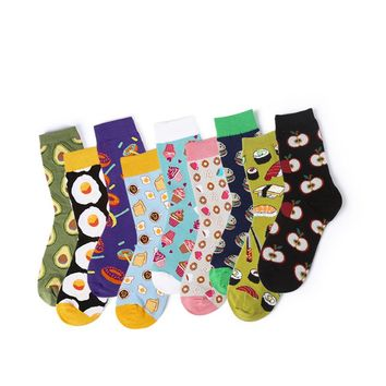 2018 Autumn and winter new Harajuku women's cotton dessert food Sushi burger donut series male and female funny socks