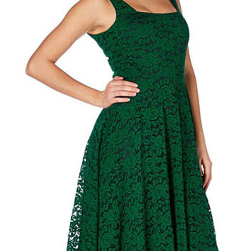 Poison Ivy Green & Black Lace Dress