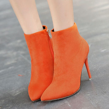 Orange Pointed Stilletos