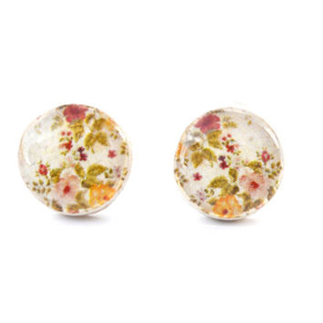 Cream spring floral studs post earrings eco friendly floral jewelry wood jewelry etsy wood earrings flower jewelry eco fashion for her