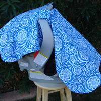 Baby Car Seat Cover Royal Blue and White - READY TO SHIP