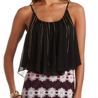 CHAIN & FRINGE CROP TOP