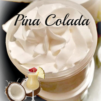 Piña Colada Whipped Body Butter, Whipped Lotion, Vegan Body Butter, Shea Butter, Whipped Moisturizer, Dry Skin Care, 4oz