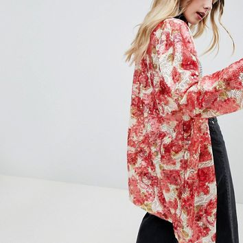 One Above Another Kimono In Patch Sequin at asos.com