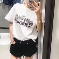 """Burberry"" Unisex Simple Casual Fashion Sketch City Letter Embroidery Couple Short Sleeve T-shirt Top Tee"