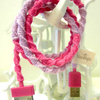 Yarn Wrapped Scented iPod / iPhone / iPad USB Cable Charger 'Cheshire Cat' By Wrapture Designs