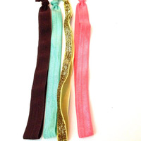 Set of four headbands foe Coral Brown Gold Glitter Turquoise elastic stretch yoga bands elastic pack holiday
