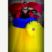 Snow White Tutu Costume HalloweenYellow blue by SewLovedBoutique
