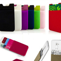 Flexible Pouch 3M Adhesive Sticker Credit Card Pocket Sleeve Holder For iphone 6 5 4 4s for Samsung S3 S4 S5 S6 S6 Edge