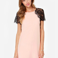 Pink Lace Short Sleeve A-line Mini Dress