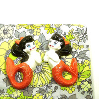vintage mermaids, plaster plaques, wall decor, orange, kitsch, orange, nautical, mermaid, pop art, sea, mythical
