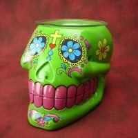 Skull Day Of The Dead Table Fragrance Aroma Lamp Oil Diffuser Wax Tart Candle Warmer Burner Home Decor