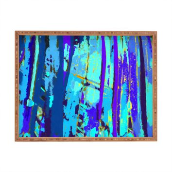 Rosie Brown Blue Palms 2 Rectangular Tray