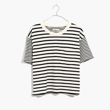 Easy Crop Tee in Stripe-Mix