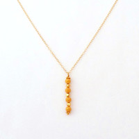 14K Gold Filled Beaded Vertical Bar Necklace - Mix And Match - Layering Necklace