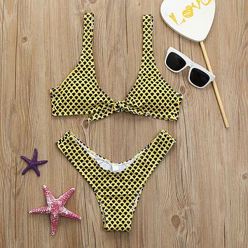 Women Padded Bandage Swimsuit Beachwear Bathing Bikini Swimwear Set