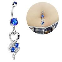 Chic Surgical Steel Heart Rhinestone Belly Ring Body Piercing Navel Jewelry