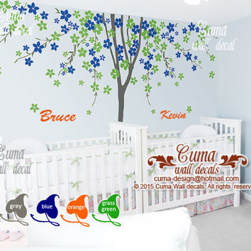 "Twins tree wall decals Boys girls decal with name children stickers living room office decals  - 138""x94""  Z211b  by cuma"